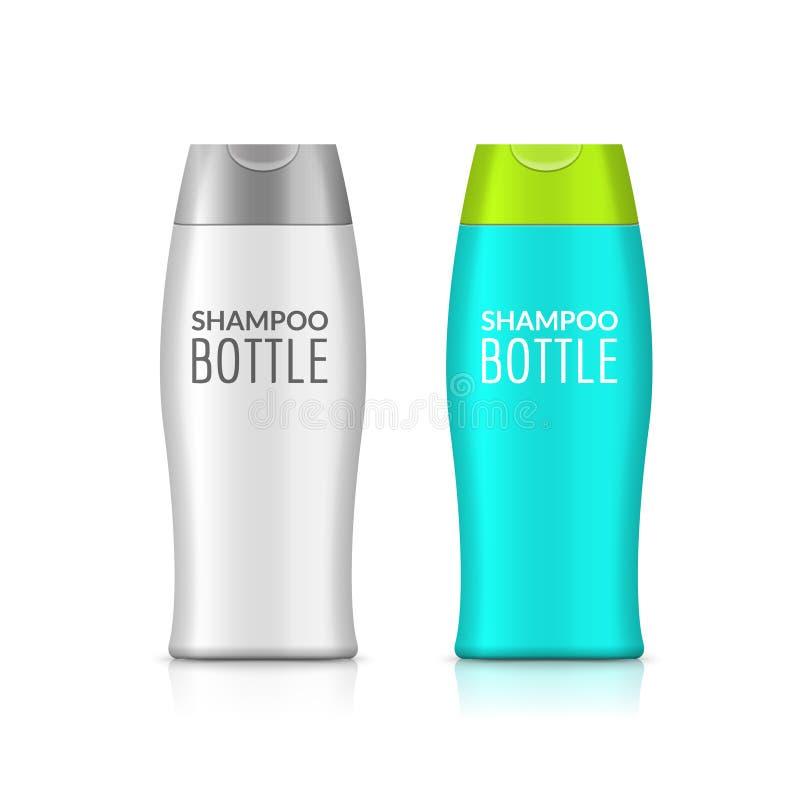 Πλαστικό σχέδιο προτύπων μπουκαλιών σαμπουάν ή μπουκαλιών πηκτωμάτων ντους Διανυσματική κενή χλεύη επάνω Προσοχή λουτρών κρέμας ή απεικόνιση αποθεμάτων