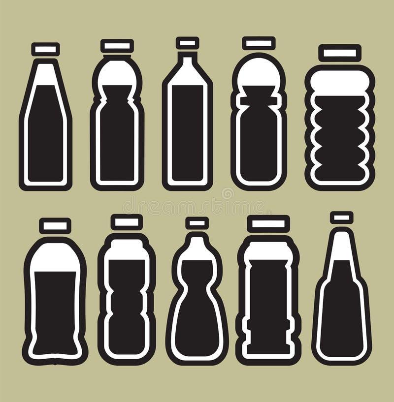 Πλαστικό σύνολο μπουκαλιών απεικόνιση αποθεμάτων