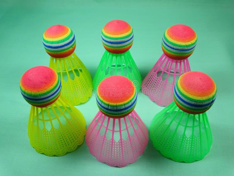 Πλαστικό Colourfull shuttlecocks στοκ εικόνα με δικαίωμα ελεύθερης χρήσης