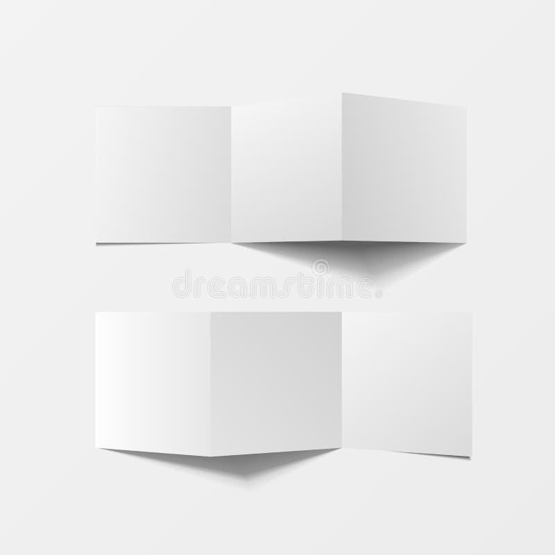Πλαστό επάνω τρισδιάστατο κενό φυλλάδιων Τοπ όψη Για το φυλλάδιο, φυλλάδιο, τεύχος, handbill σχεδιάστε, καταχωρήστε το πρότυπο, σ ελεύθερη απεικόνιση δικαιώματος
