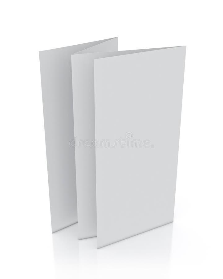 Πλαστό επάνω τρισδιάστατο πρότυπο του κενού φυλλάδιου που στέκεται, που απομονώνεται στο άσπρο υπόβαθρο ελεύθερη απεικόνιση δικαιώματος