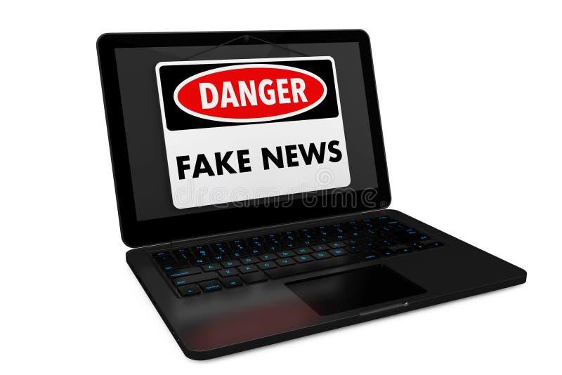 Πλαστό σημάδι κινδύνου ειδήσεων πέρα από την οθόνη lap-top τρισδιάστατη απόδοση ελεύθερη απεικόνιση δικαιώματος