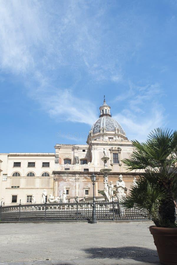πλατεία Πραιτώρια Σικελία της Ιταλίας Παλέρμο στοκ φωτογραφίες
