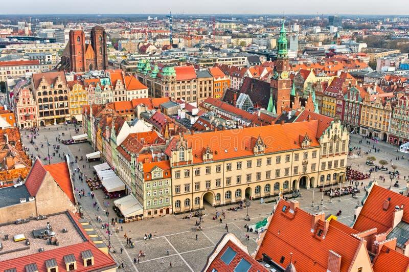 Πλατεία της πόλης σε Wroclaw, Πολωνία στοκ εικόνες