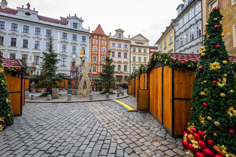 Πλατεία Krumlov Cesky στο χρόνο Χριστουγέννων, Δημοκρατία της Τσεχίας στοκ εικόνες με δικαίωμα ελεύθερης χρήσης