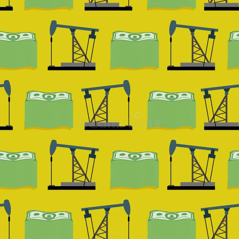 Πλατφόρμα άντλησης πετρελαίου και μια δέσμη του άνευ ραφής σχεδίου χρημάτων Διανυσματικοί πλούσιοι πίσω απεικόνιση αποθεμάτων