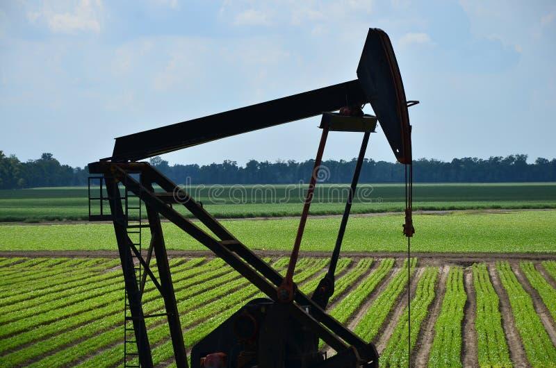 Πλατφόρμα άντλησης πετρελαίου στον πράσινο τομέα στοκ εικόνα