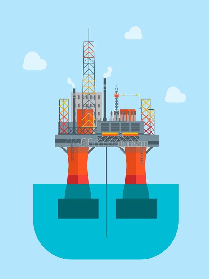 Πλατφόρμα πετρελαίου κινούμενων σχεδίων διάνυσμα απεικόνιση αποθεμάτων