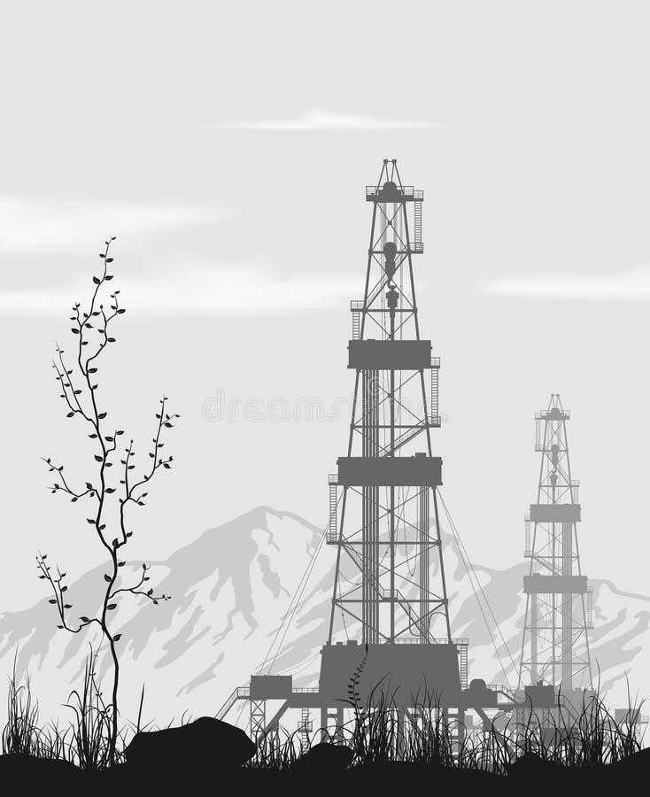 Πλατφόρμες άντλησης πετρελαίου πέρα από τη σειρά βουνών απεικόνιση αποθεμάτων