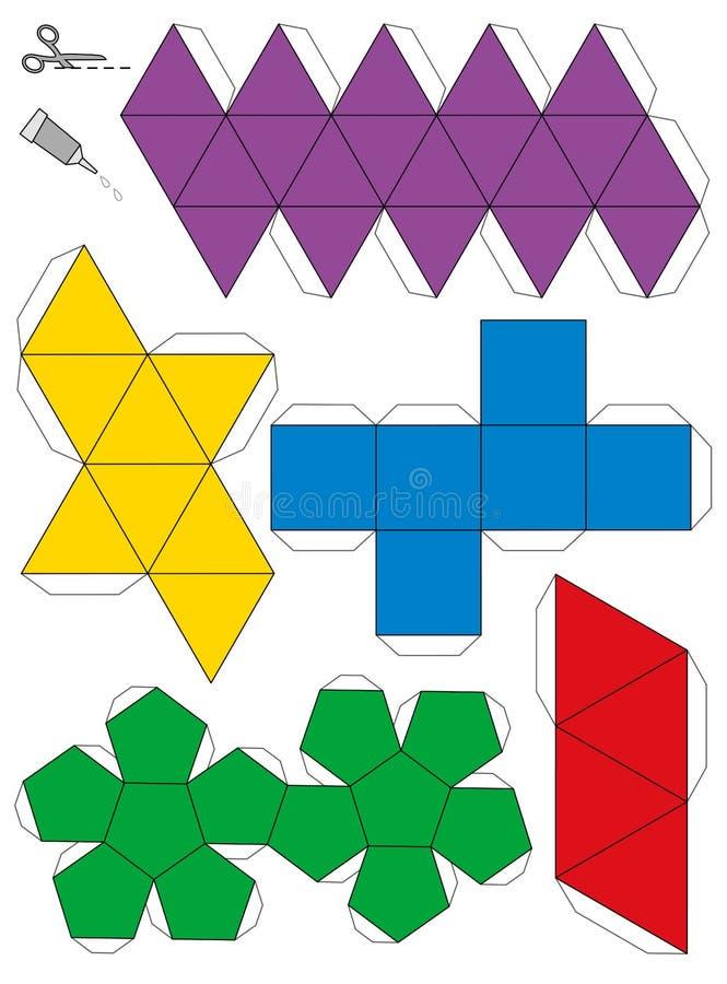 Πλατωνικό πρότυπο πρότυπο εγγράφου στερεών διανυσματική απεικόνιση