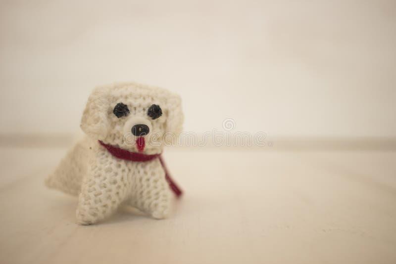 Πλεγμένο χαριτωμένο σκυλί στοκ φωτογραφίες