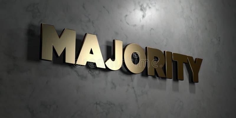 Πλειοψηφία - χρυσό σημάδι που τοποθετείται στο στιλπνό μαρμάρινο τοίχο - τρισδιάστατο δικαίωμα ελεύθερη απεικόνιση αποθεμάτων απεικόνιση αποθεμάτων