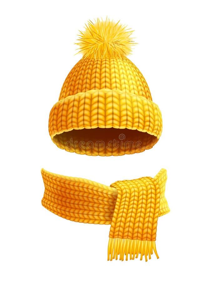 Πλεκτή επίπεδη απεικόνιση καπέλων και μαντίλι διανυσματική απεικόνιση