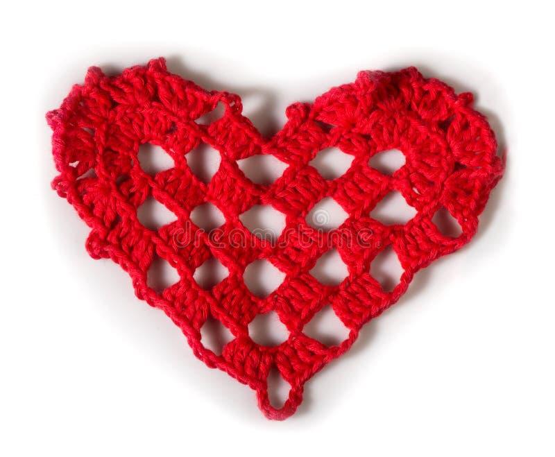 Πλεκτή κόκκινη καρδιά στοκ φωτογραφίες με δικαίωμα ελεύθερης χρήσης