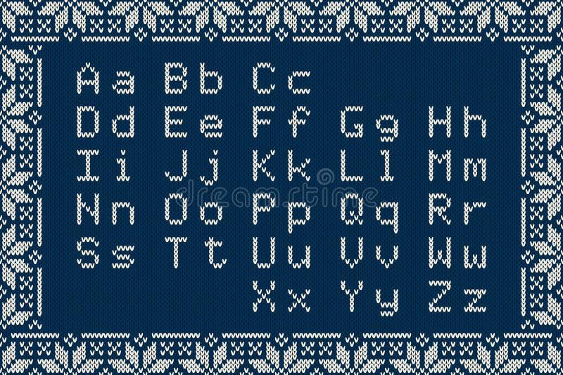 Πλεκτό λατινικό αλφάβητο στο άνευ ραφής υπόβαθρο Σκανδιναβικό δίκαιο σχέδιο πουλόβερ πλεξίματος νησιών διανυσματική απεικόνιση