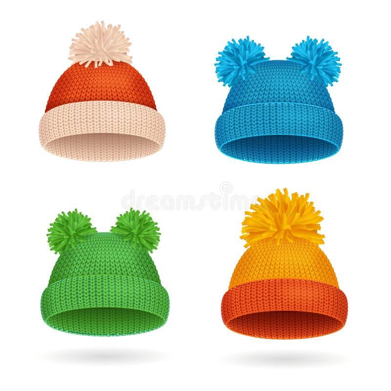 Πλεκτό χειμερινό σύνολο καπέλων χρώματος διάνυσμα απεικόνιση αποθεμάτων
