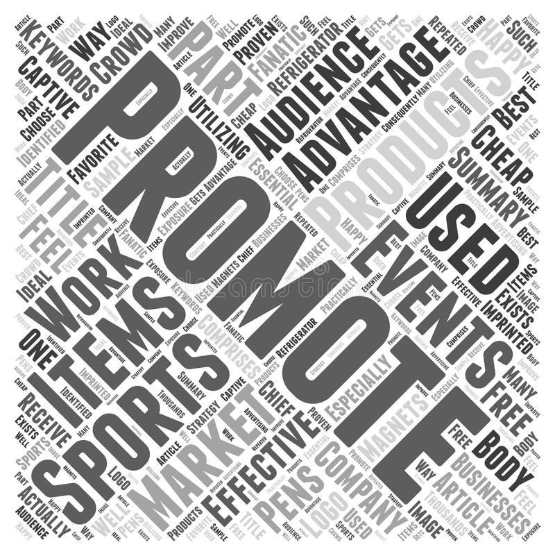 Πλεονεκτήματα των προωθητικών προϊόντων στο υπόβαθρο έννοιας σύννεφων λέξης αθλητικών εκδηλώσεων διανυσματική απεικόνιση