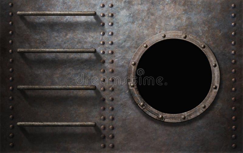 Πλευρά υποβρυχίων ή σκαφών μετάλλων με τα σκαλοπάτια και την παραφωτίδα στοκ εικόνες με δικαίωμα ελεύθερης χρήσης