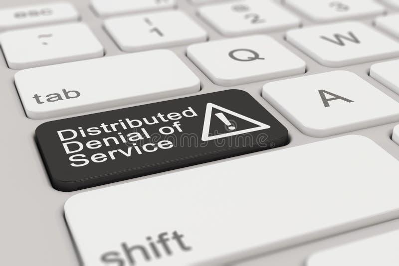 Πληκτρολόγιο - διανεμημένη άρνηση της υπηρεσίας - ο Μαύρος διανυσματική απεικόνιση