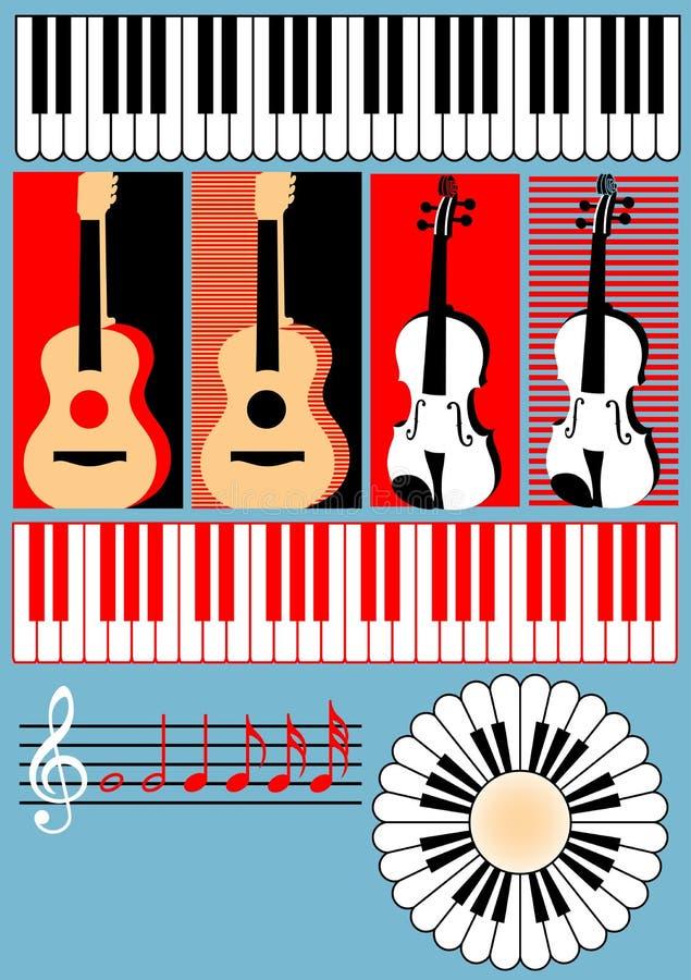Πληκτρολόγιο, κιθάρα, βιολί, τριπλό clef, σημείωση - symb απεικόνιση αποθεμάτων