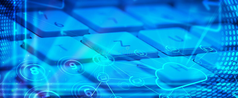 Πληκτρολόγιο με τα καμμένος εικονίδια τεχνολογίας σύννεφων στοκ φωτογραφία με δικαίωμα ελεύθερης χρήσης