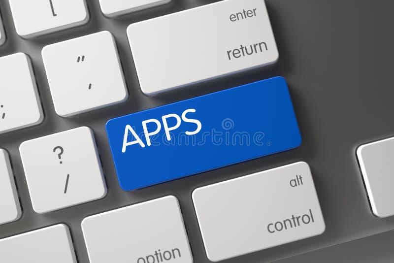 Πληκτρολόγιο με το μπλε αριθμητικό πληκτρολόγιο - Apps τρισδιάστατος στοκ εικόνα με δικαίωμα ελεύθερης χρήσης