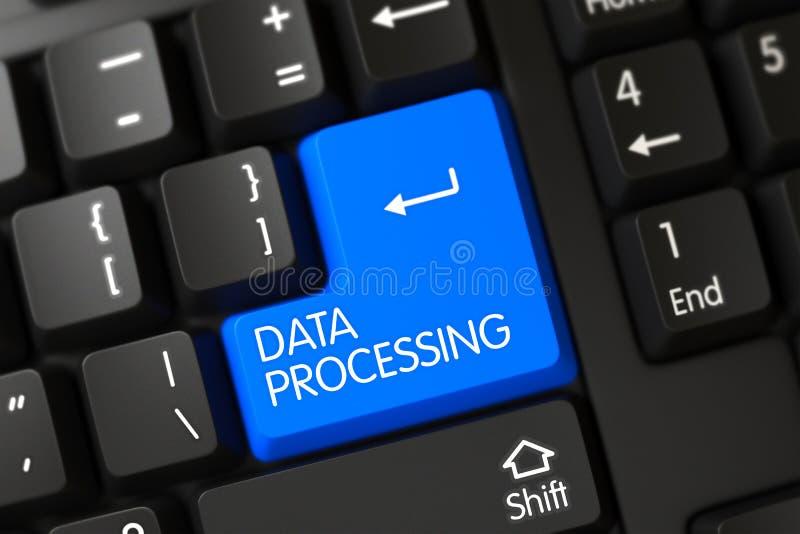 Πληκτρολόγιο με το μπλε κουμπί - στοιχεία - επεξεργασία τρισδιάστατος στοκ εικόνες