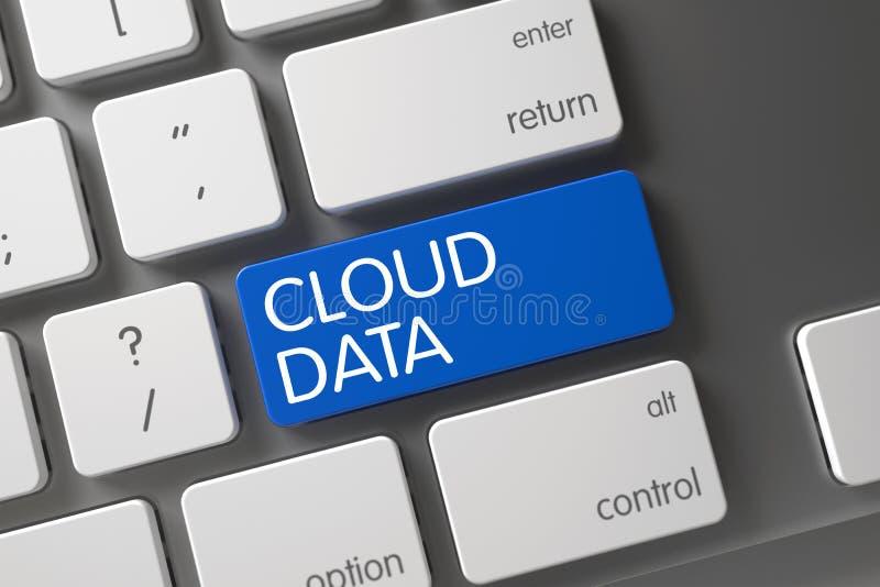 Πληκτρολόγιο με το μπλε κλειδί - στοιχεία σύννεφων τρισδιάστατος ελεύθερη απεικόνιση δικαιώματος