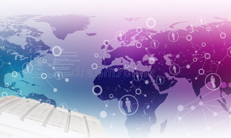 Πληκτρολόγιο στο ιώδες υπόβαθρο παγκόσμιων χαρτών απεικόνιση αποθεμάτων