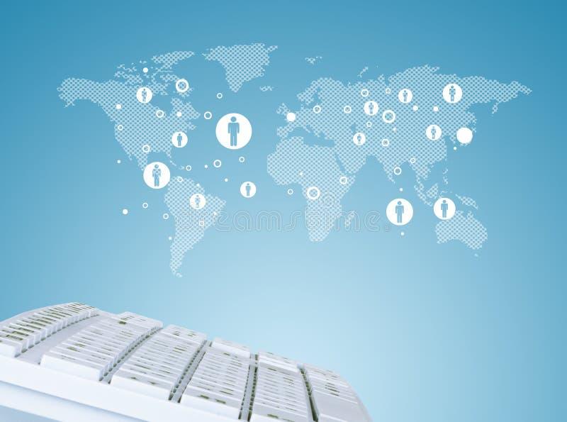 Πληκτρολόγιο στο υπόβαθρο παγκόσμιων χαρτών με τα σύμβολα απεικόνιση αποθεμάτων