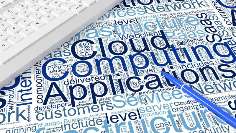 Πληκτρολόγιο υπολογιστών στο άσπρο γραφείο με τις λέξεις κλειδιά υπολογισμού σύννεφων wordcloud απεικόνιση αποθεμάτων