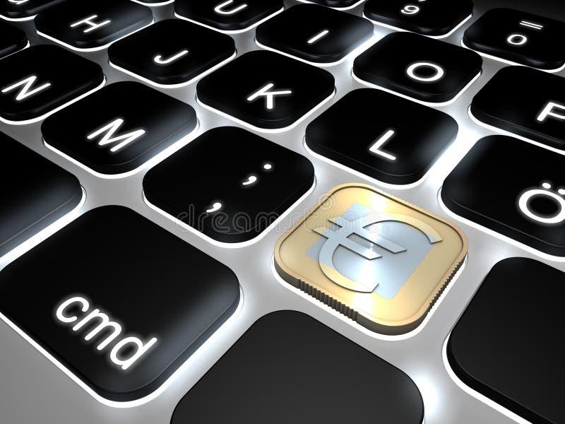 Πληκτρολόγιο LIT με το ειδικό ευρο- κλειδί σημαδιών νομισμάτων στοκ εικόνες