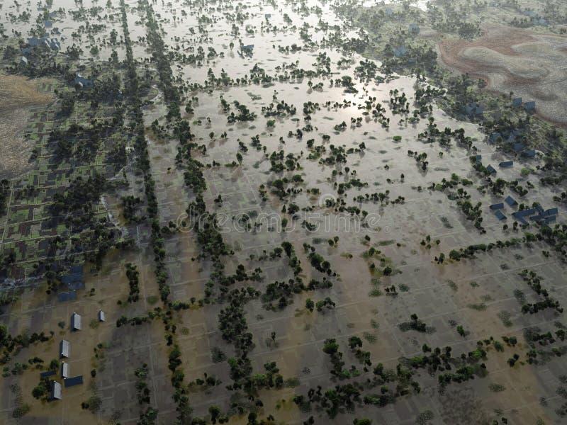 Πλημμύρα, εναέρια άποψη διανυσματική απεικόνιση