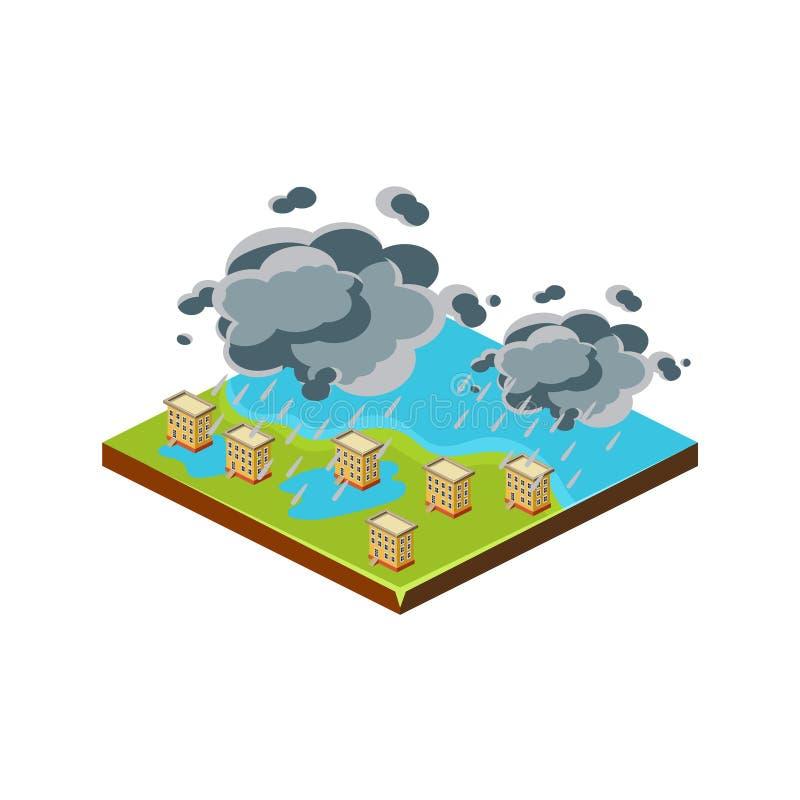 Πλημμύρα στην πόλη Εικονίδιο φυσικής καταστροφής επίσης corel σύρετε το διάνυσμα απεικόνισης ελεύθερη απεικόνιση δικαιώματος