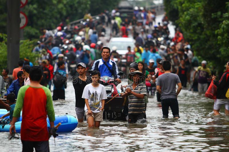 Πλημμύρα της Τζακάρτα στοκ εικόνα