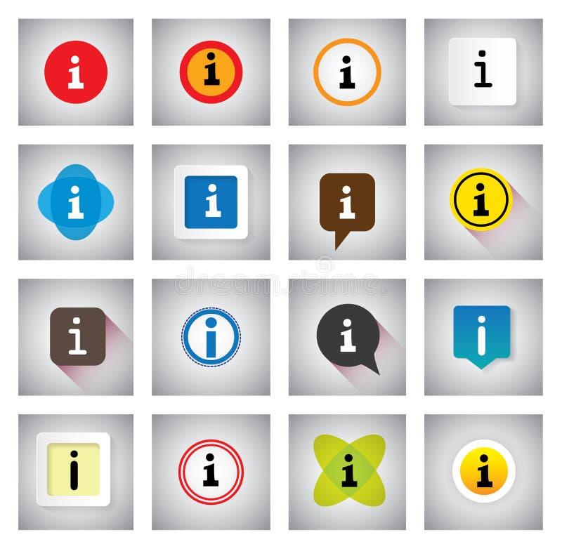 Πληροφορίες ή διανυσματικά εικονίδια πληροφοριών καθορισμένα στις λεκτικές φυσαλίδες ή τη συνομιλία s διανυσματική απεικόνιση