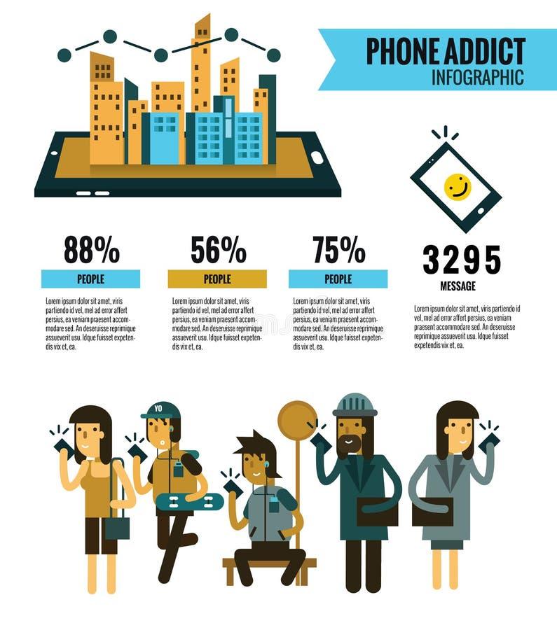 Πληροφορίες εξαρτημένων Smartphone γραφικές κύτταρο Smartphone εκμετάλλευσης ανθρώπων Κοινωνική έννοια επικοινωνίας δικτύων έμβλη απεικόνιση αποθεμάτων