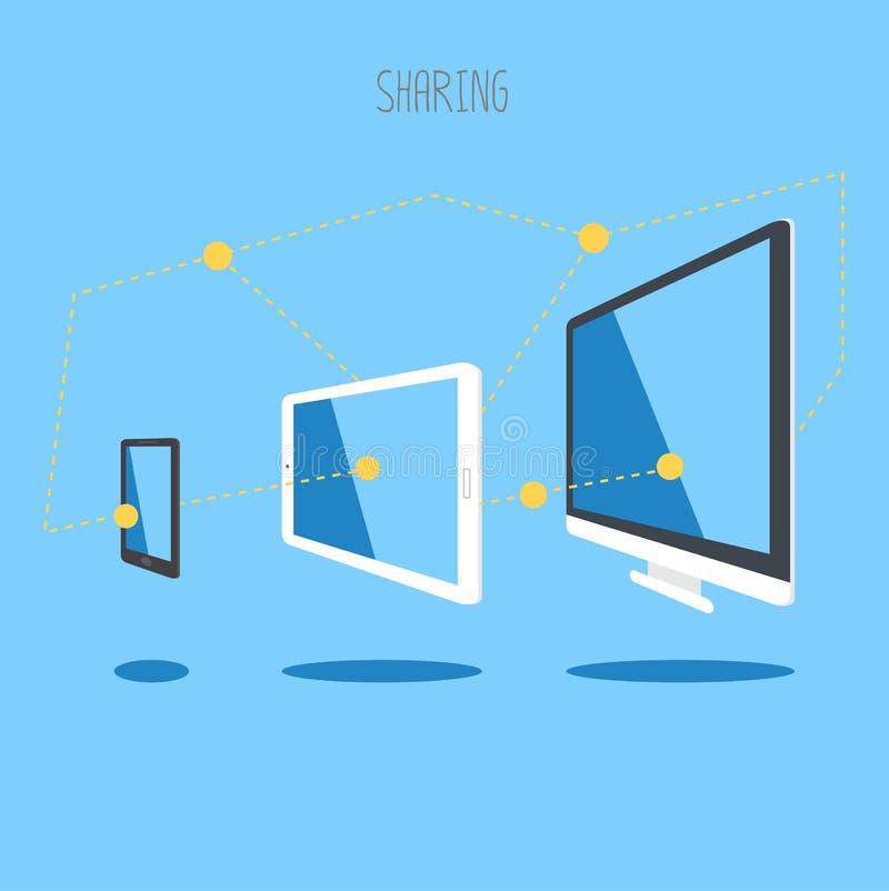 Πληροφορίες συγχρονισμού σύννεφων υπολογιστών γραφείου smartphone ταμπλετών συσκευών ΤΠ διανυσματική απεικόνιση
