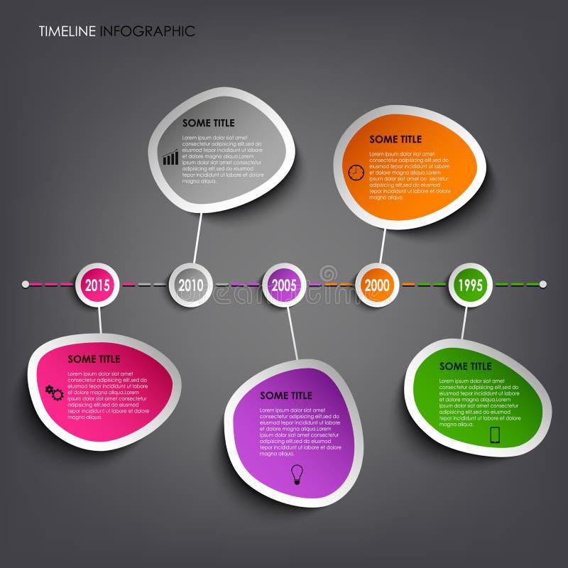 Πληροφορίες χρονικών γραμμών γραφικές με τις χρωματισμένες αφηρημένες αυτοκόλλητες ετικέττες ελεύθερη απεικόνιση δικαιώματος