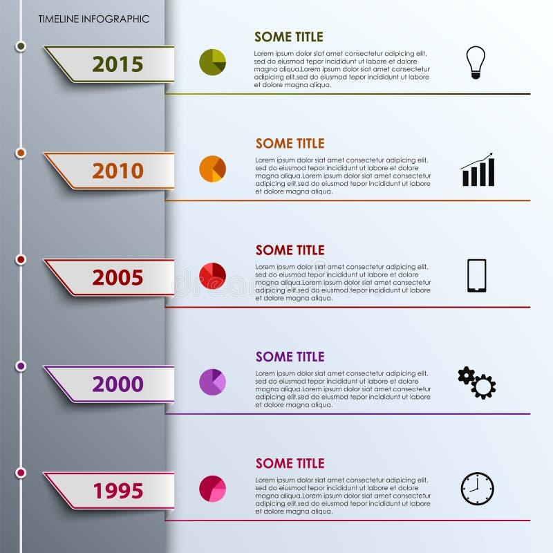 Πληροφορίες χρονικών γραμμών γραφικές με το χρωματισμένο πρότυπο σχεδίου ετικεττών ελεύθερη απεικόνιση δικαιώματος