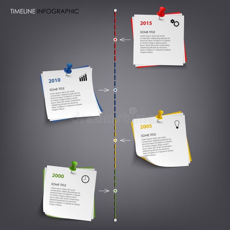 Πληροφορίες χρονικών γραμμών γραφικές με χρωματισμένο το σημείωση πρότυπο εγγράφου διανυσματική απεικόνιση