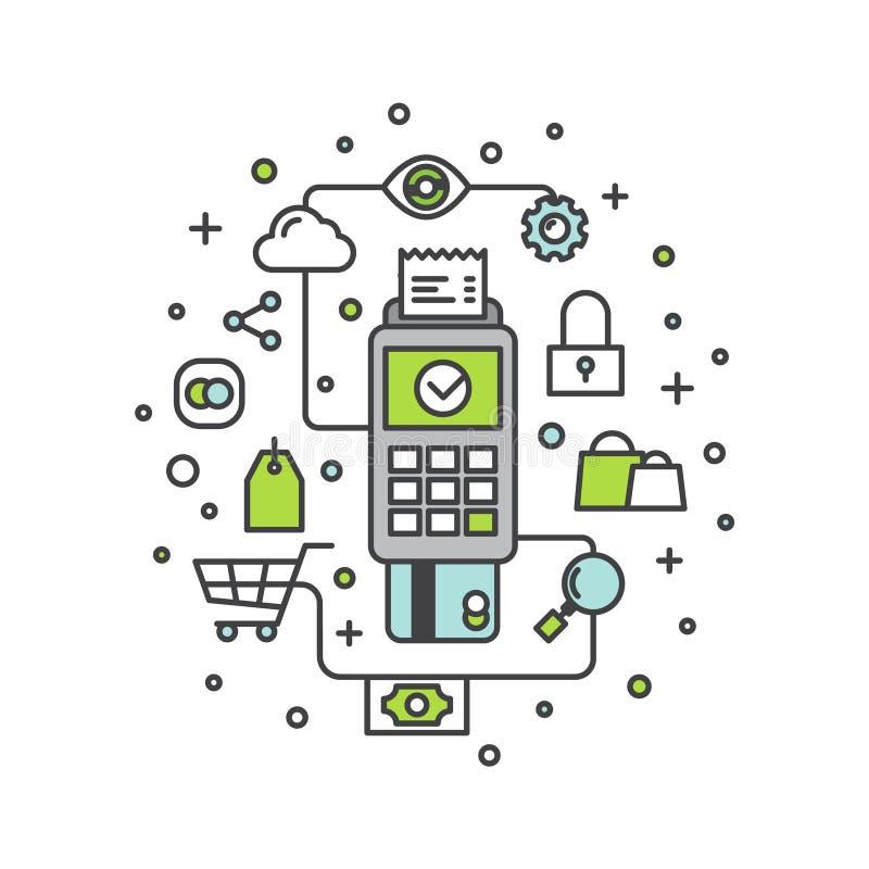 Πληρωμή ηλεκτρονικής πίστωσης ή χρεωστικών καρτών μέσω του τερματικού ελεύθερη απεικόνιση δικαιώματος
