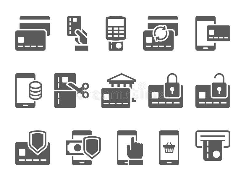 Πληρώστε τα σε απευθείας σύνδεση και κινητά τραπεζικά εικονίδια απεικόνιση αποθεμάτων