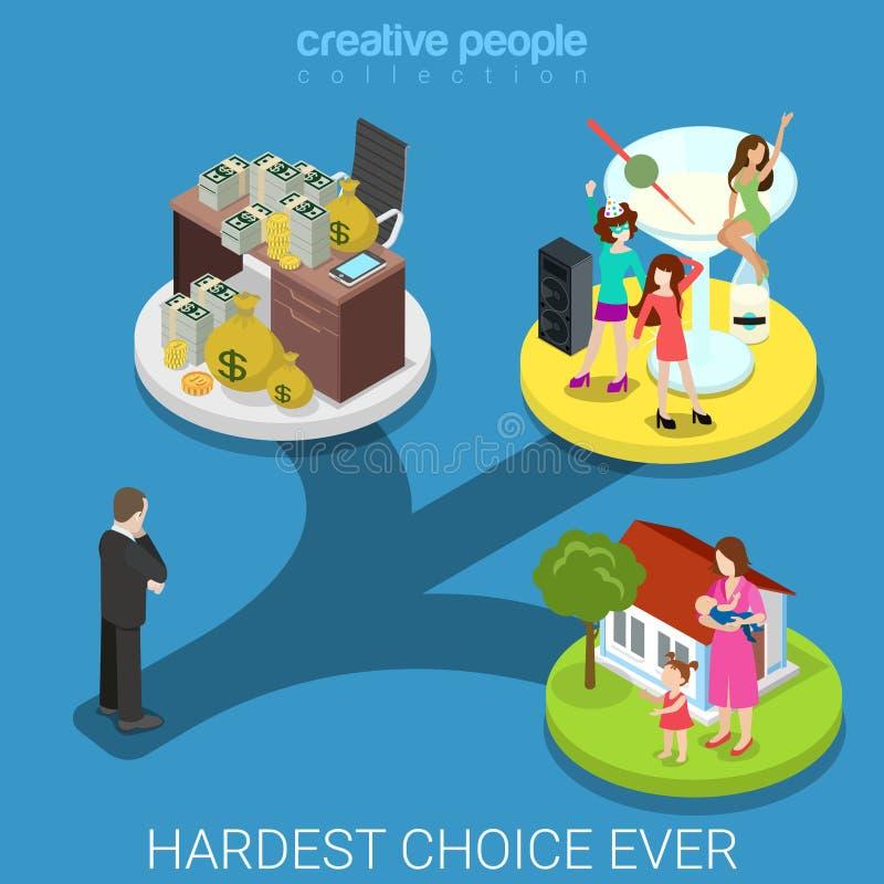 Πλούσιος οικογενειακός οριζόντια τρισδιάστατος isometric επιλογής επιχειρηματιών σκληρός ελεύθερη απεικόνιση δικαιώματος