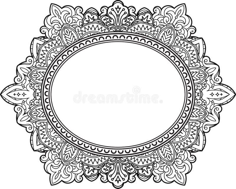 Πλούσιο διακοσμημένο ωοειδές σχέδιο πλαισίων διακοσμητικό διάνυσμα αν& διανυσματική απεικόνιση