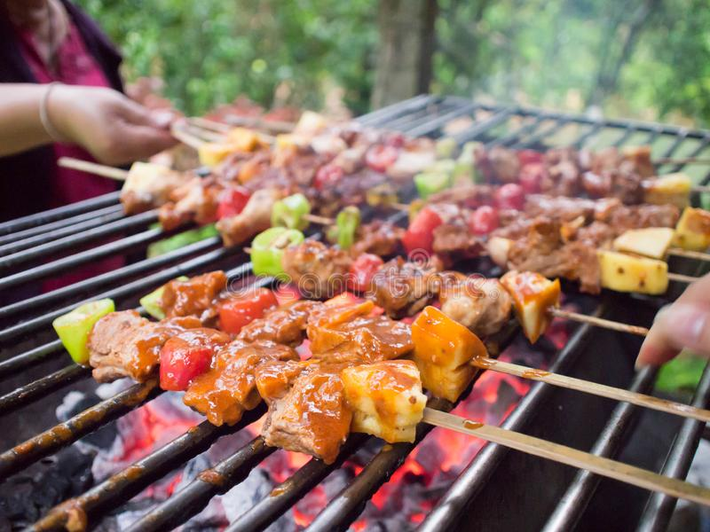 ράβδος β που bbq τα μαγειρεύοντας οβελίδια πιπεριών q μανιταριών κρέατος σχαρών γευμάτων άνθρακα κοτόπουλου kebab σχάρα άνθρακα τ στοκ φωτογραφίες