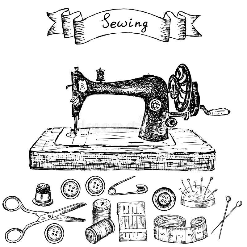 Ράβοντας μηχανή ελεύθερη απεικόνιση δικαιώματος