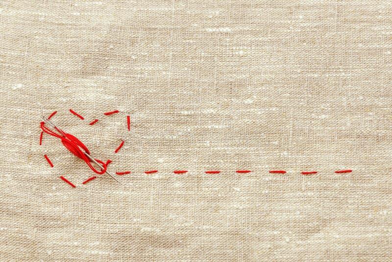 Ράβοντας νήμα και για το πλέξιμο, μια κόκκινη σειρά υπό μορφή ιατρικής καρδιάς στα όργανα στοκ εικόνα
