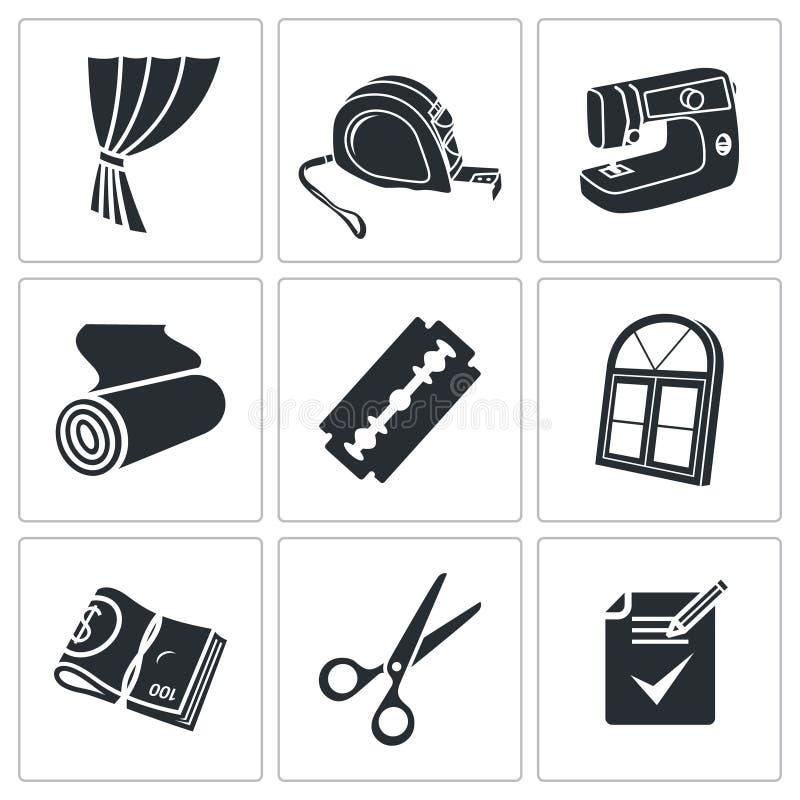 Ράβοντας τα διανυσματικά εικονίδια υπηρεσιών κουρτινών καθορισμένα απεικόνιση αποθεμάτων