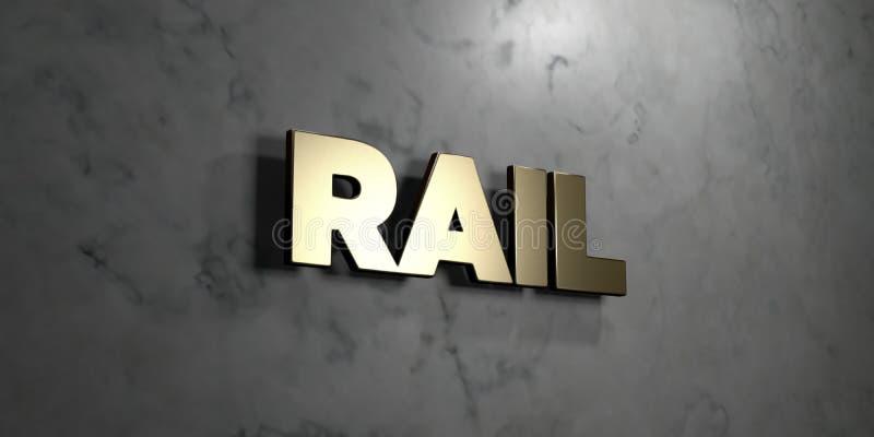Ράγα - χρυσό σημάδι που τοποθετείται στο στιλπνό μαρμάρινο τοίχο - τρισδιάστατο δικαίωμα ελεύθερη απεικόνιση αποθεμάτων ελεύθερη απεικόνιση δικαιώματος